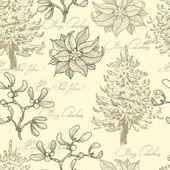 Hand drawn  vintage Christmas seamless pattern — Stock Vector
