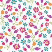 Handgeschilderde getextureerde weide bloemen en naadloze patte bessen — Stockvector