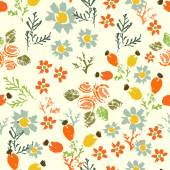 Hand painted textured  forest  flowers and berries seamless patt — Vector de stock