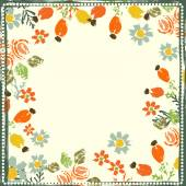 Hand painted textured forest flowers and berries frame — Stock Vector