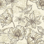 Hand drawn vintage  botanical  seamless pattern — Stock Vector