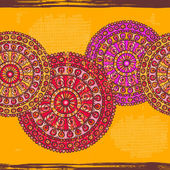 Hand drawn  lace mandalas  horizontal seamless border — Stock Vector