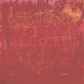 Hand drawn  red shabby vintage  background  in indian style — Stok Vektör