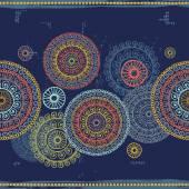 Hand drawn mandalas seamless border  in indian style — Stock Vector