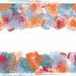 Постер, плакат: Hand drawn shabby seamless border in blue and orange tones