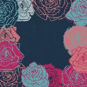 Hand drawn  shabby vintage  roses frame in dark blue — Stock Vector