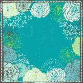 Hand drawn vintage  floral  frame in turquoise tones — 图库矢量图片