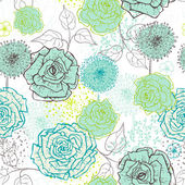 Hand drawn vintage floral seamless pattern in fresh tones — Stock Vector