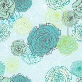 Main dessinée vintage transparente motif floral en turquoise — Vecteur