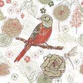 Hand drawn vintage floral seamless pattern with bird  — Stockvektor