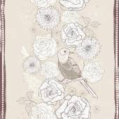 Hand drawn vintage  floral seamless border in craft paper tones — Stockvektor