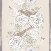 Ruky nakreslené ročník květinové bezešvé hranice s ptáky — Stock vektor