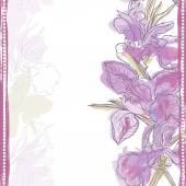 Hand made watercolor iris flowers vertical seamless border — Stok Vektör