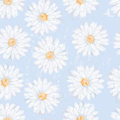 Simple daisy flowers seamless pattern in naive style — Stock Vector