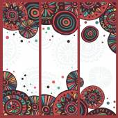 Hand drawn set of  motley tribal cards — Stock Vector