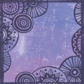 Cadre ethnique violet du tendre-dessiné main — Vecteur