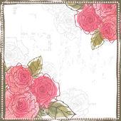 Fresh pink roses frame border — Stock Vector