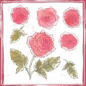 Hand drawn set of watercolor roses — Stok Vektör