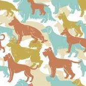 Motley dog breeds seamless pattern — Stock Vector