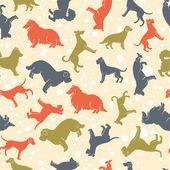 Stylized dog breeds seamless pattern — Stock Vector