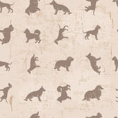 Dog breeds silhouettes  vintage shabby seamless pattern — Stock Vector