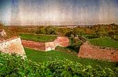 Old postcard with Petrovaradin fortress in Novi Sad, Serbia 2 — Foto de Stock