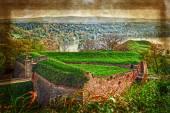 ノヴィ ・ サド、セルビア 4 のペトロヴァラディン要塞の古い絵葉書 — ストック写真