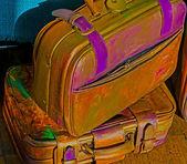 Funny hippie suitcases — Stock Photo