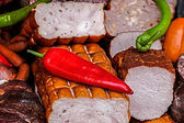Smoked sausages specialties with red and green pepper 3 — Stock Photo