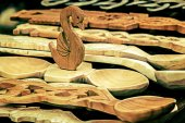 Group of wood objects, traditional romanian 1 — Stock Photo