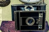 Old photo with old photo camera 3 — Stock Photo