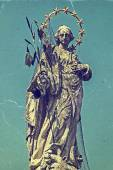 Old photo with Plague Monument 1 — Stock Photo