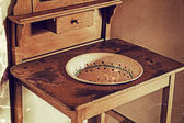 Old poto with old serbian furniture for washing their hands — Stock Photo