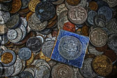 Old photo with old coins 11 — Stock fotografie