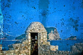 Old photos wit fortress of the old town of Budva, Montenegro — Foto Stock
