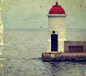 Old photo with lighthouse from Zadar, Croatia. — Stock Photo