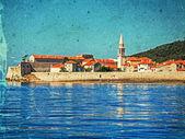 Old photo with the citadel of Budva — Stock Photo