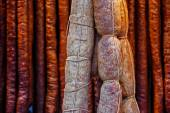Romanian sausages (carnati), smoked and dried-3 — ストック写真