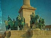 Old photo from Heroes Square Budapest — 图库照片