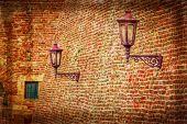 Old photo wit Kalemegdan Fortress wall and lampposts — Stock Photo