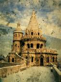 Old photo with Fisherman's bastion at Buda Castle in Budapest, H — Stock Photo