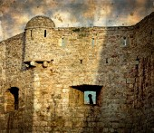Old photos with fortress of the old town of Budva, Montenegro 1 — Stock Photo