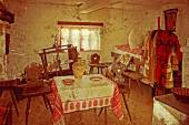 Old photo with Romanian traditional home interior 7 — Stockfoto
