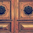 Vintage look at details of a medieval wooden door — Stock Photo #63404765