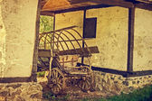 Old photo at one romanian farmhouse exterior — Stock Photo