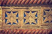 Old photo with facade detail of a synagogue. Timisoara, Romania — Stock Photo
