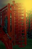 Agricultural equipment in sunset light. Detail 2 — Stock Photo