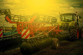Agricultural equipment in sunset light. Detail 3 — Stock Photo