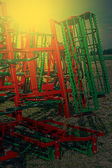 Agricultural equipment in sunset light. Detail 8 — Stock Photo
