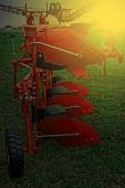 Agricultural equipment in sunset light. Detail 13 — Stock Photo